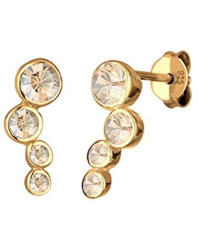 Ohrstecker Basic Geo Klassisch 925 Sterling Silber Vergoldet Swarovski Kristalle gold