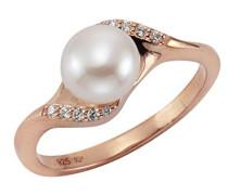 Ring Silber vergoldet teilvergoldet Perle weiß Rundschliff Zirkonia Süßwasser-Zuchtperle