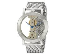 Armbanduhr für mit Analog Anzeige, Handaufzug-Uhr mit Edelstahl Armband - Wasserdichte Herrenuhr mit zeitlosem