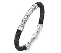 Hoxtons London Sterling Silber Fischgät Schwarzes Leder Armband 22cm