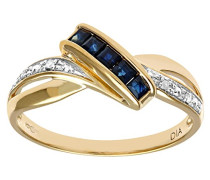 Ring 375 Gelbgold 9 K Saphir Diamant PR08829Y SA-M