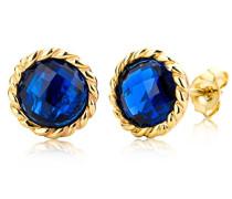 Ohrstecker Ohrringe 9 Karat (375) Saphir Stein 5.0 ct Gelbgold Quarz blau Rundschliff - MNA9052E