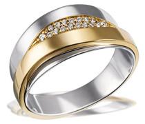 Ring 585 Gelbgold und 925 Sterlingsilber mit Diamanten Brillanten Diamantring Verlobung