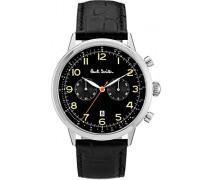 Chronograph Quarz Uhr mit Leder Armband P10011