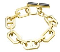 Armband JP-T Chains Edelstahl teilvergoldet Achat schwarz 20 cm-JPBR10656B200
