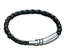 Armband 925 Sterling Silber Leder 21 cm schwarz B2915