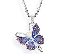 Anhänger Flying purple 925 Silber Brandlack Perle weiß LD FP 33