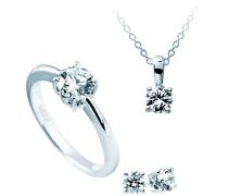 Schmuckset Halskette + Ohrringe + Ring Karat 4teiliges Set 925 Silber rhodiniert Zirkonia Brillantschliff weiß - 13/1202/1/917