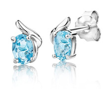 Ohrstecker 925 Sterling- Silber Ovalschliff Blau Topas