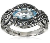 Ring 925 Silber vintage-oxidized Topas blau Markasit 50 (15.9) - L0040R/90/W4/50