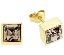 Ohrstecker 8 mm viereckig quadratisch gelbvergoldet veredelt mit Kristallen von Swarovski braun