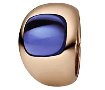 Damen-Ring Edelstahl teilvergoldet Quarz blau