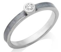 By Joy Ring 925 Sterling Silber Zirkonia Solitär und Emaille grau