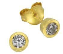 Basic Ohrstecker 925 Sterling Silber vergoldet Zirkonia weiß 273220520V1