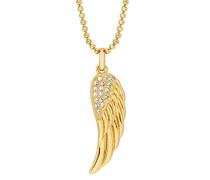 Kette 42+3cm gelbvergoldet mit Anhänger Flügel veredelt mit Kristallen von Swarovski