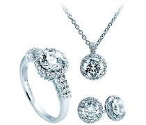 Schmuckset Halskette + Ohrringe + Ring Classic 4teiliges Set 925 Silber rhodiniert Zirkonia Brillantschliff weiß - 13/1269/1/918