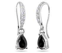 Ohrhänger 925 Sterling Silber Zirkonia Tropfenschliff schwarz 310910711