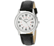 1207.1933 Schweizer Uhr mit weißem Zifferblatt Analog-Anzeige Quarz und Schwarz Lederband