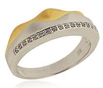 Ring Silber Vergoldet rhodiniert mattiert Zirkonia Weiß Brillantschliff