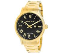 Quartz Armbanduhr von für Männer mit Original Schweizer Uhrwerk mit Schwarzem Zifferblatt Analoger Anzeige und Goldfarbenem Armband aus Edelstahl Datumsanzeige BSSM211