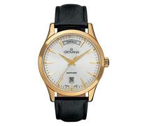 1201.1512 Schweizer Uhr mit Quarz Silber Zifferblatt Analog-Anzeige und schwarz Lederband