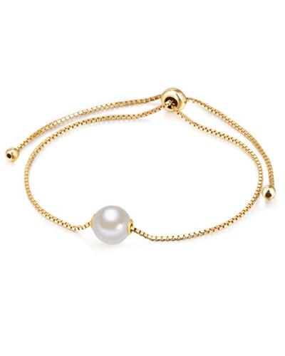 Armband Sterling Silber gelbvergoldet mit Perlenanhänger mit Süßwasser-Zuchtperle weiß flexibel verstellbar 14 cm bis 22 cm - Perlen-Armband mit Perlen-Anhänger groß