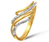 Damen-Ring 9 K Gelbgold Diamant 0,13 ct