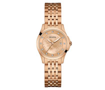 Diamond 97S112 - Designer-Armbanduhr - Perlmutt-Zifferblatt - Roségoldfarben