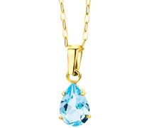 Halskette mit Anhänger – Moderne Kette aus 9 kt. Gelbgold mit Geburtsstein Topaz in Blau – Halsschmuck 45 cm lang
