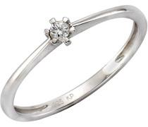 Ring 925 Sterling Silber teilvergoldet Diamant 0.005 ct weiß Rundschliff Quarz