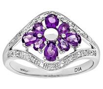 Damen-Ring 9 K 375 Weißgold Amethyst Diamant