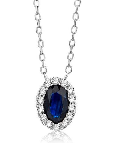 Anhänger Halskette 9 Karat ( 375 ) Weißgold Saphir mit brillanten 45 cm blau Ovalschliff Diamant - MF9020N