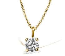 Kette mit Anhänger Solitär Jana Solitär Halskette Jana 0.10 ct. 585 Gelbgold Diamant (0.10 ct) weiß Brillantschliff Schmuck Diamantkette