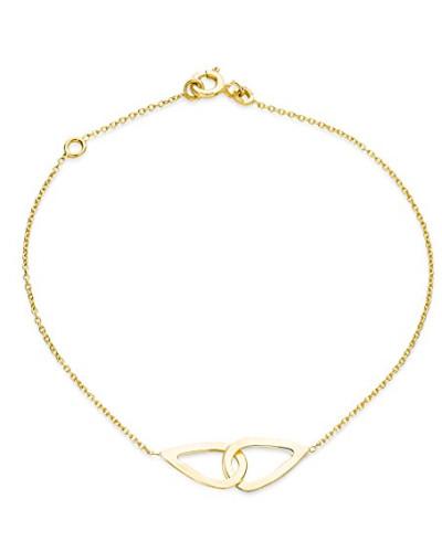 Armband - Armreif Gelbgold 9 Karat / 375 Gold Kette mit Herz 18 cm
