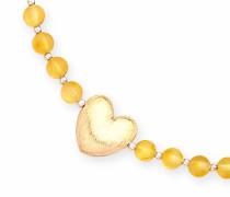 Halskette mit vergoldetem Herz auf einem Strang, Matt, Zitronengelb, Bernsteinfarben