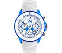 ICE Chrono party Curaçao - Weiße Herrenuhr mit Silikonarmband - 013717 (Extra Large)