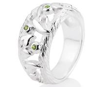 Ring Lebensbaum 925 Silber Brillantschliff Zirkonia grün