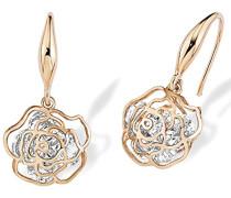 Ohrhänger Rose Blume rosévergoldet veredelt mit Swarovski Kristallen 26 mm