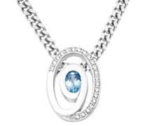 Halskette 925 Sterling Silber Blau Topas Zirkonia Anhänger 45cm Kette MSAE009N