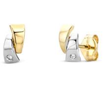 Ohrringe Ohrstecker Bicolor Gelbgold/Weißgold 14 Karat/585 Gold Diamant Brillianten