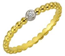 Ring 925 Sterling Silber teilvergoldet Diamant 0.005 ct weiß Rundschliff