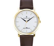 – 612364 – Armbanduhr – Quarz Analog – Weißes Ziffernblatt – Armband Leder braun