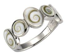 Pearls Ring 925 Sterling Silber rhodiniert Muschel weiß