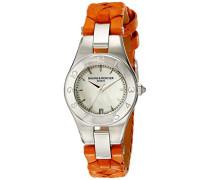 Baume et Mercier Mercier Leder Mutter Orange Uhr Pearl Linea Baume Zifferblatt und der