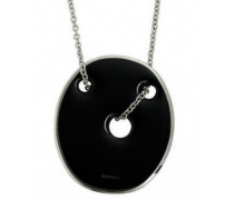 – TJ0821 Damen – Halskette mit Anhänger – Stahl – Emaille Schwarz