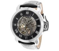 Monumentum Skeleton Collection Automatik Armbanduhr mit skelettieretem Zifferblatt und offener Unruh - Analoge Anzeige - Echtlederarmband Gehäuse aus Edelstahl Größe XL - LSII1301