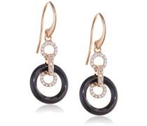 Ohrringe - Rosévergoldetes 925 Sterling Silber und Premium Keramik in Schwarz - Zirkoniasteine und Diamanten - 5 cm - STM15J024