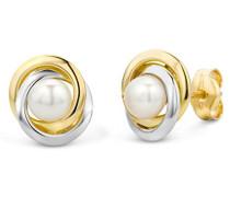 Ohrringe Bicolor Gelbgold/Weißgold 14 Karat/585 Gold Ohrstecker Süßwasserperlen