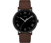 Datum klassisch Quarz Uhr mit Leder Armband TW2R80300