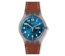 Herren Analog Quarz Uhr mit Leder Armband SUOK709